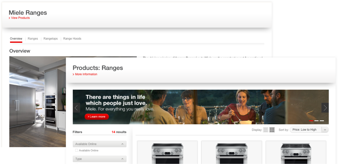 Screenshot of the Miele Ranges product pages.