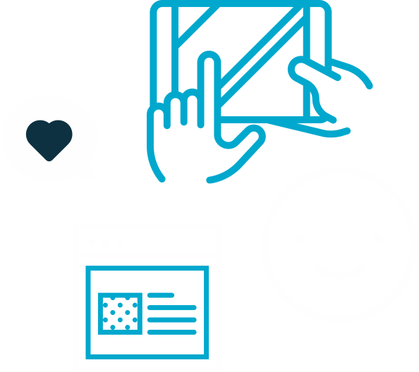 Graphic representing happy users using Dynamics 365 CRM.