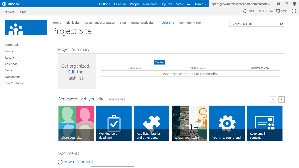 Image of sample SharePoint dashboard.