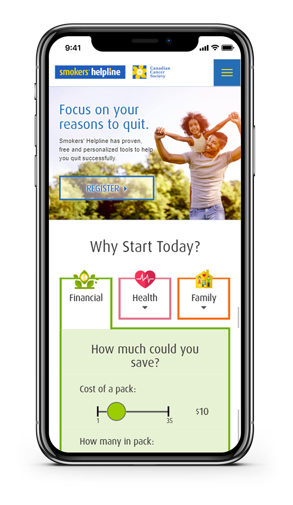 Image of a mobile phone with the Smoker's Help Line mobile website Whitecap designed.