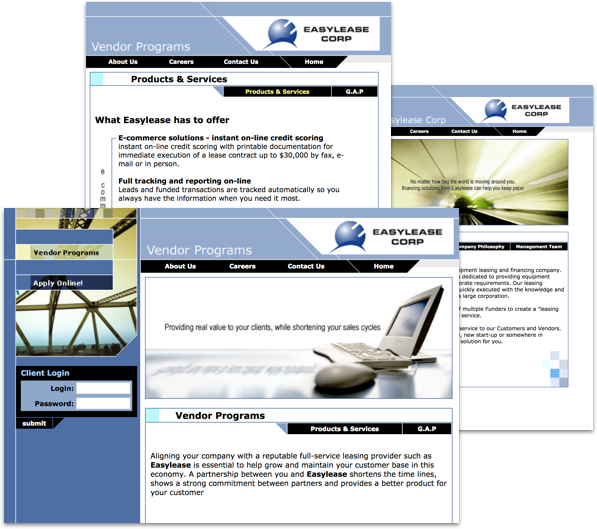 Screenshots of EasyLease Corp website designed by Whitecap.