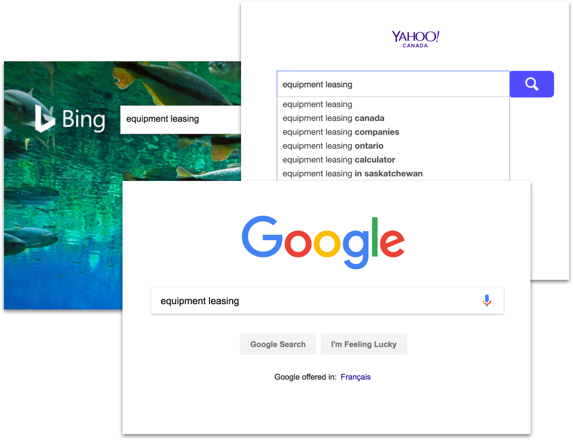 Screenshot of search engine pages.