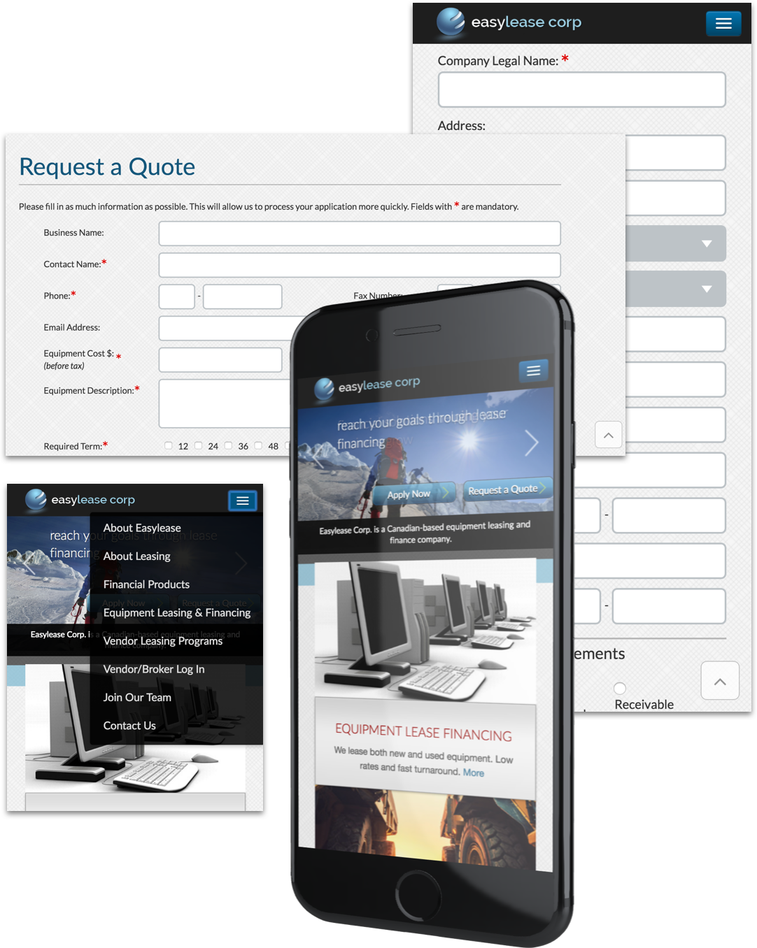 Screenshots of EasyLease Corp mobile website view and request a quote page.