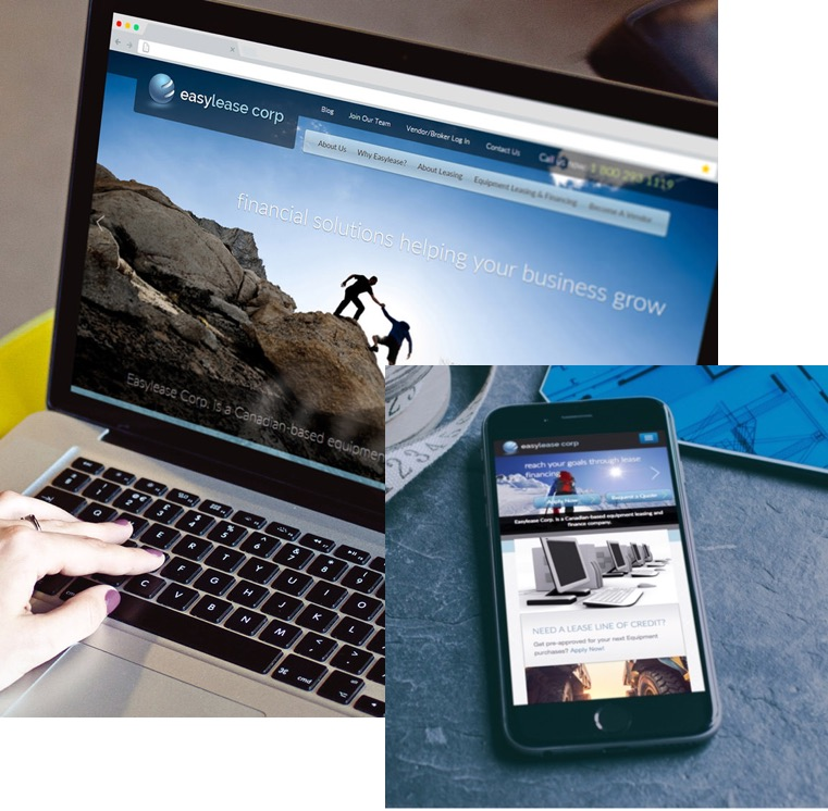Image of laptop and mobile phone with EasyLease Corp website on them.