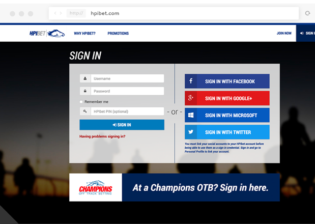 Screenshot of HPIBet login page.
