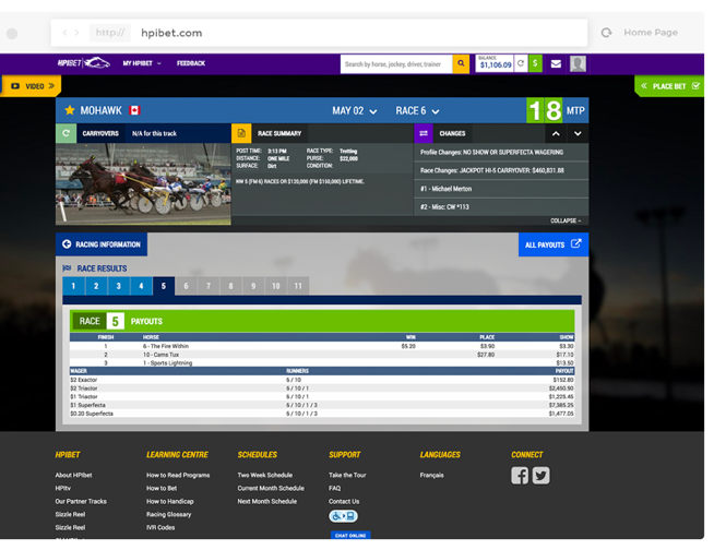 Screenshot of HPIBet dashboard.