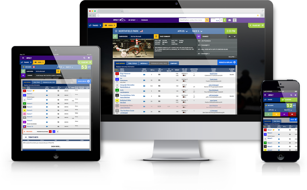 Images of HPIBet dashboard in desktop and mobile views.