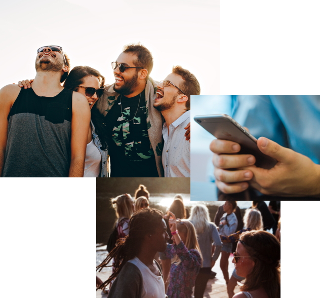 Collage of images with people having a good time and using their mobile devices.