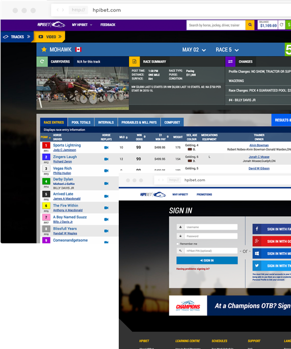 Image of screenshot of the HPIBet software developed for Woodbine by Whitecap.