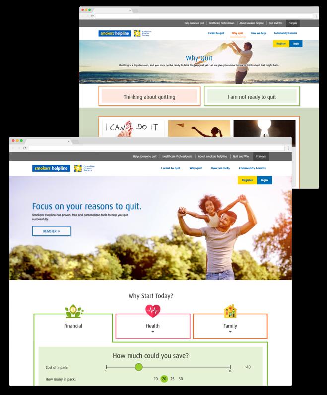 screenshot of smokershelpline.ca website