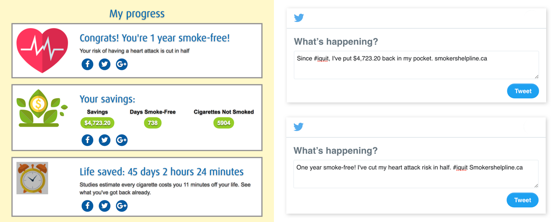 smokershelpline.ca social media messages