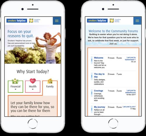 mobile screenshots of smokershelpline.ca