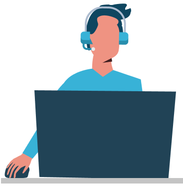 Illustration of a Dynamics 365 CRM support person.