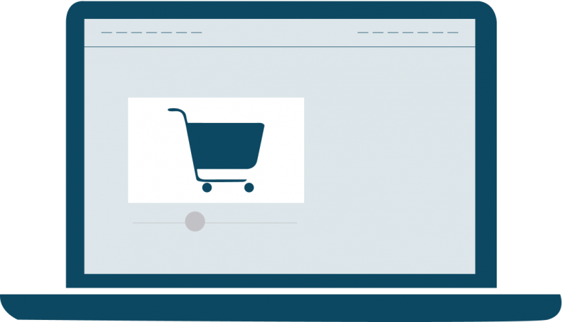 Illustration of a laptop computer with an eCommerce shopping cart displayed.