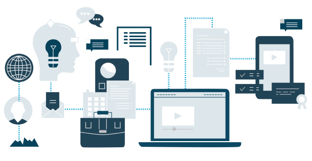 Illustration of connected devices representing a custom software that enables a connected, collaborative business.