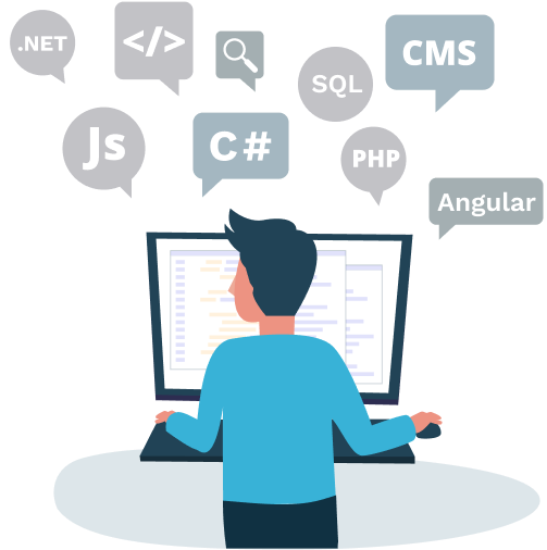 Illustration of a developer working with various application development tools and technologies, such as ASP.NET, C#, PHP, JavaScript, HTML and CSS.