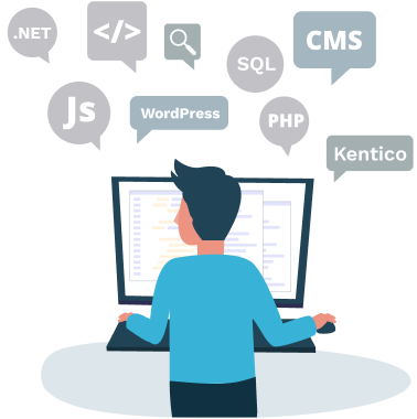 Illustration of a developer working with various web development tools and technologies, such as ASP.NET, PHP, SQL, JavaScript, WordPress and Kentico.