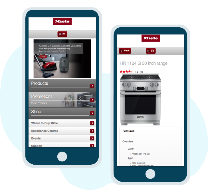Example of a mobile site Whitecap developed for Miele.