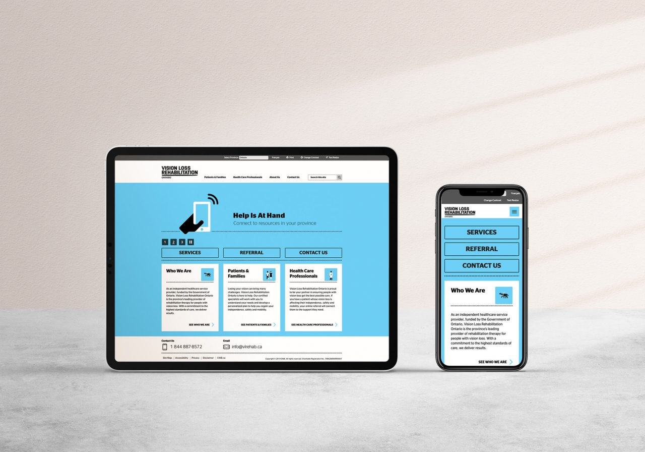 Vision Loss Rehabilitation website on a tablet and mobile phone.