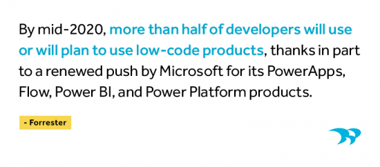 By mid-2020, more than half of developers will use or will plan to use low-code products, thanks in part to a renewed push by Microsoft for its Power Apps, Flow, Power BI, and Power Platform products. Forrester