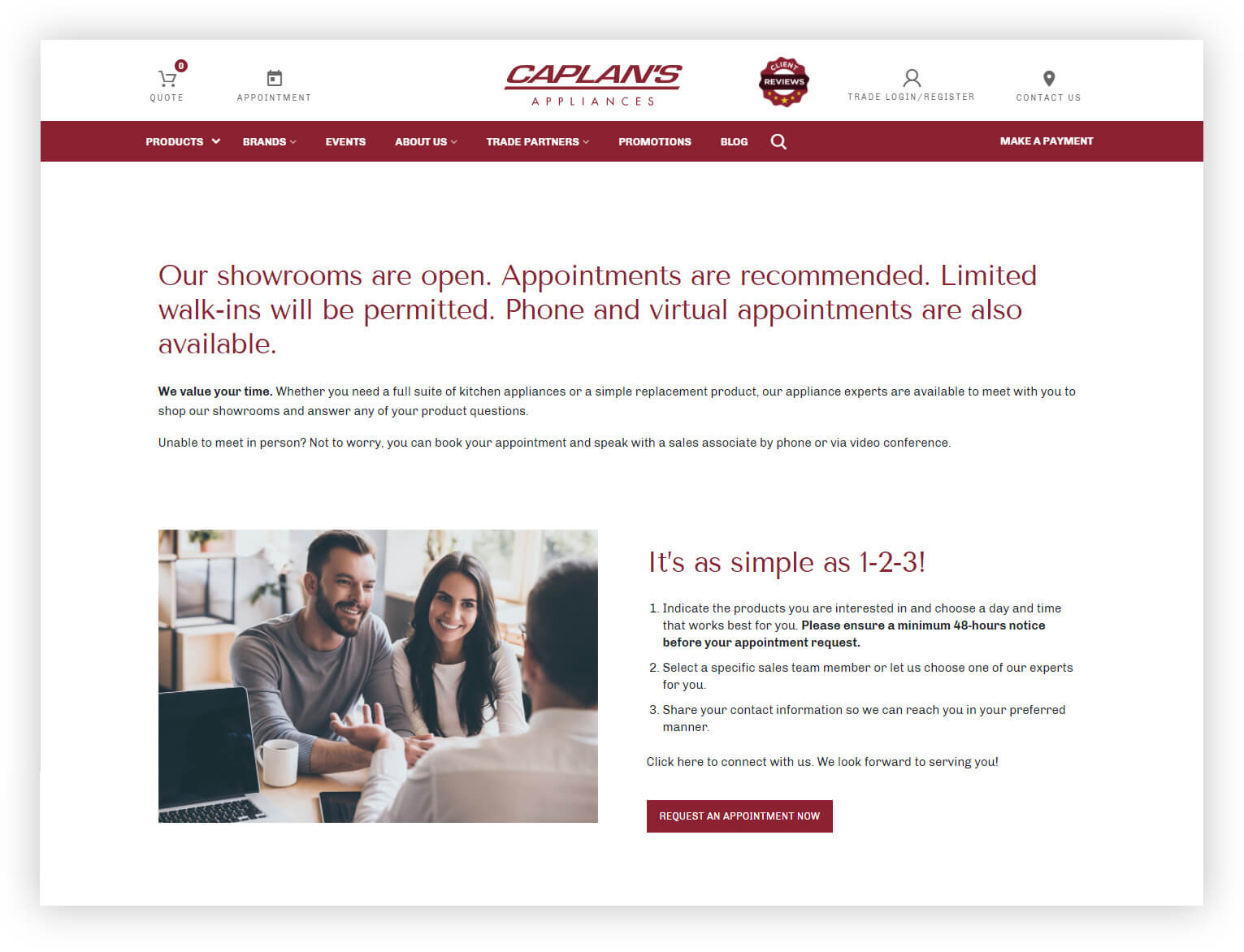 Caplan's Appliances appointment page