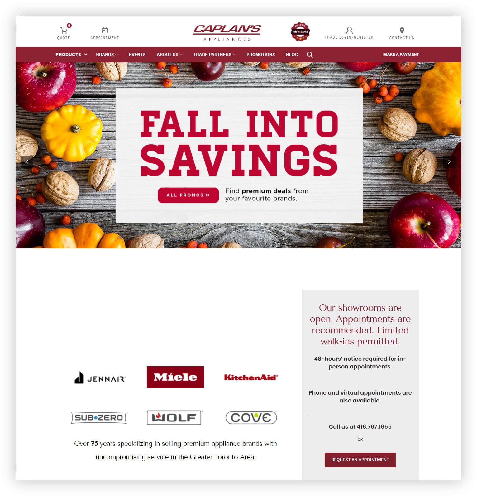 Caplan's Appliances home page